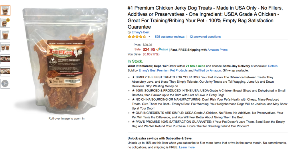 Strong Amazon Listing - Dog Jerky