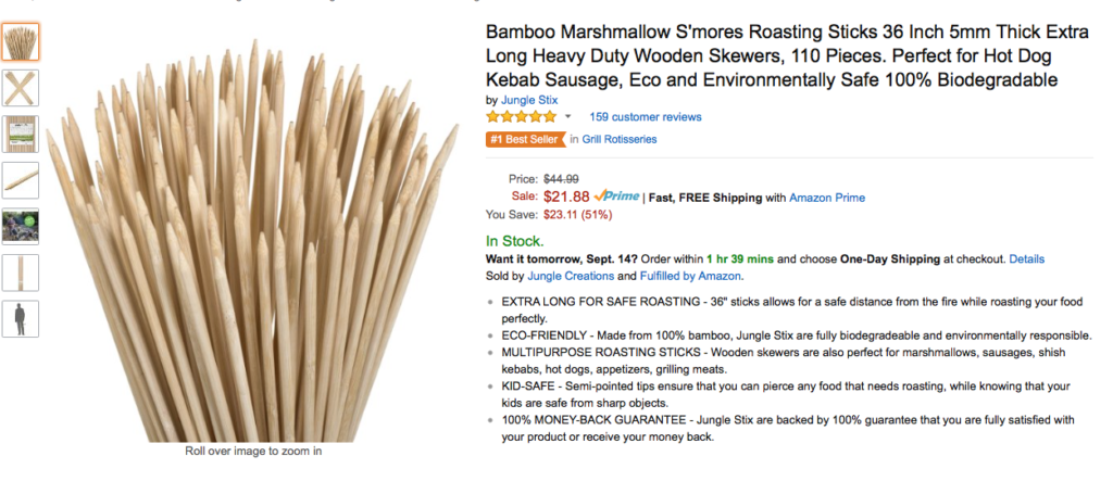 Roasting Sticks - Great Amazon Listing